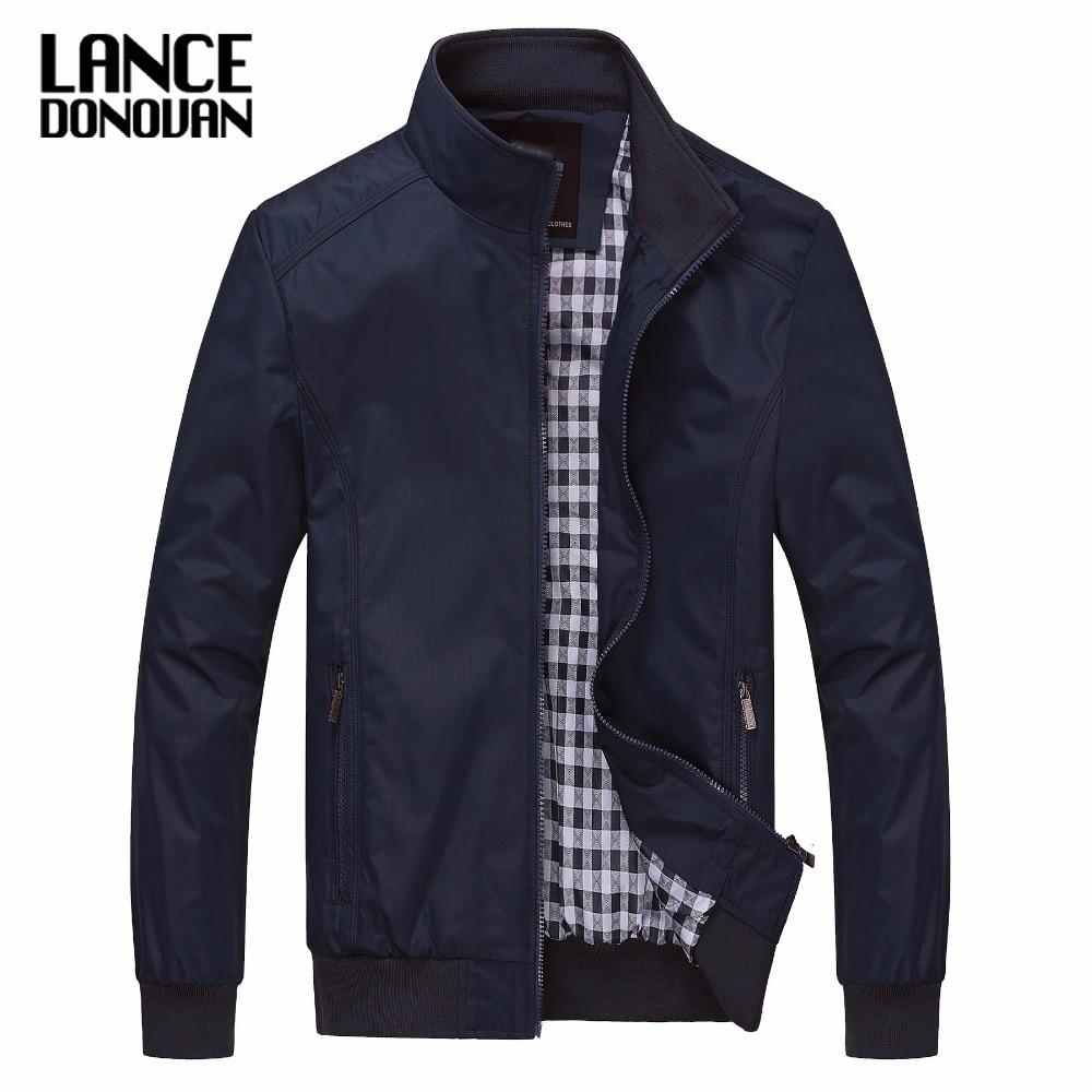 Solid Color New 2019 Casual Jacket M-5XL 6XL Men Spring Autumn Outerwear Mandarin Collar Clothing
