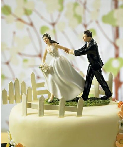Bride Where Are You Going Escape Bride Funny Wedding Cake Topper