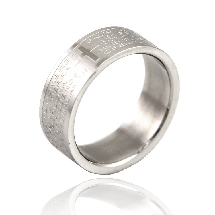 Bible cross titanium index finger ring finger ring day gift fashion male accessories