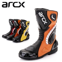 Free shipping 1pair Men's Cowhide Leather High Fiber Pro Sport Bike Racing Motocross Motorcycle Boots