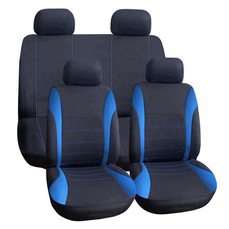 VODOOL 9 unids/set cubierta de asiento de coche Universal poliéster coche asiento trasero cojín Protector Car Styling accesorios interiores