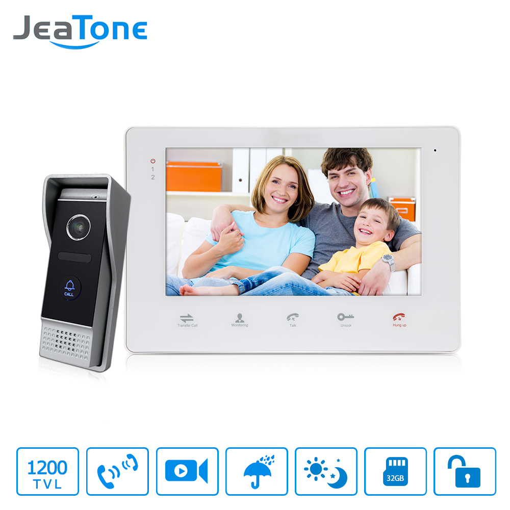 JeaTone 7 Color Video Intercom Doorbell Monitor Intercom System IP65 Waterproof Door Phone 1200TVL Camera Home