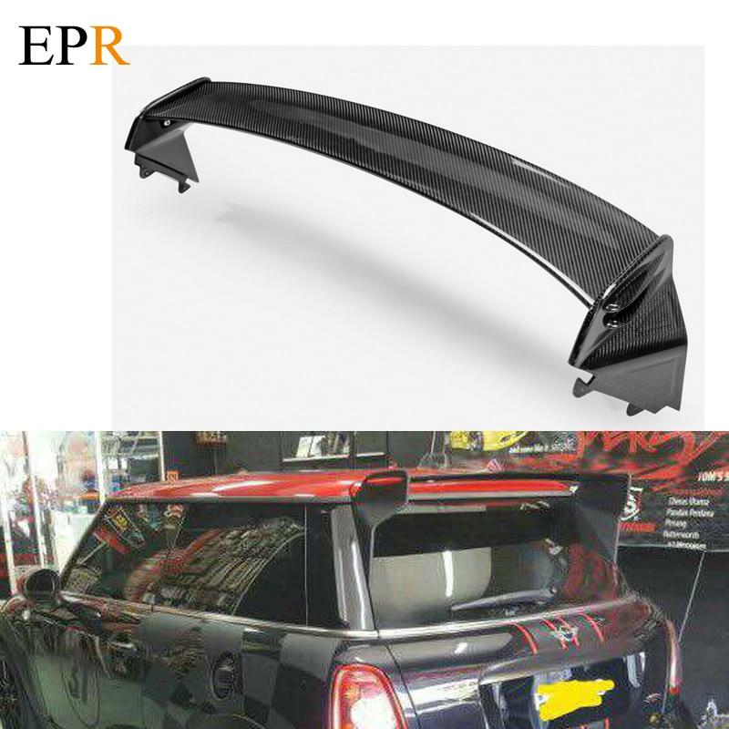 US entrepôt Type JCW fibre de carbone becquet de toit finition brillante aile séparateur lèvre dérive Kit adapté pour Mini Cooper R56 Ver.2.11/2.12