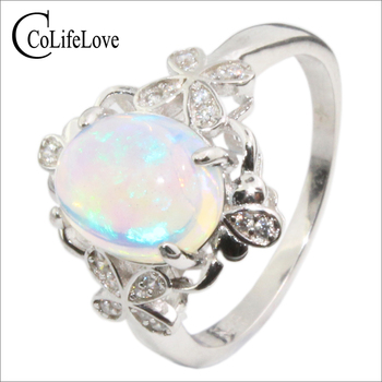 Vintage sterling silver opal ring for woman 8 mm * 10 mm natural opal silver jewelry romantic anniversary gift for woman