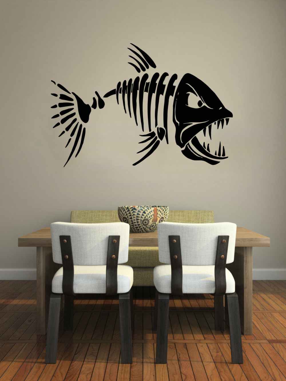 compare prices on kitchen cafe decor online shopping buy low wall decal quote skeleton fish fishing removable vinyl wall stickers home decor living room decals kitchen