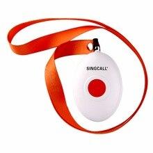 Беспроводная система ухода SINGCALL, медицинский пейджер для вызова, кнопка паники, Овальный Круглый звонок с ожерельем APE160