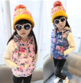 autumn winter Girls' flowers print Cotton Vest kids Cute Waistcoat Vest Children Waistcoat minecraft Leisure baby girls vests