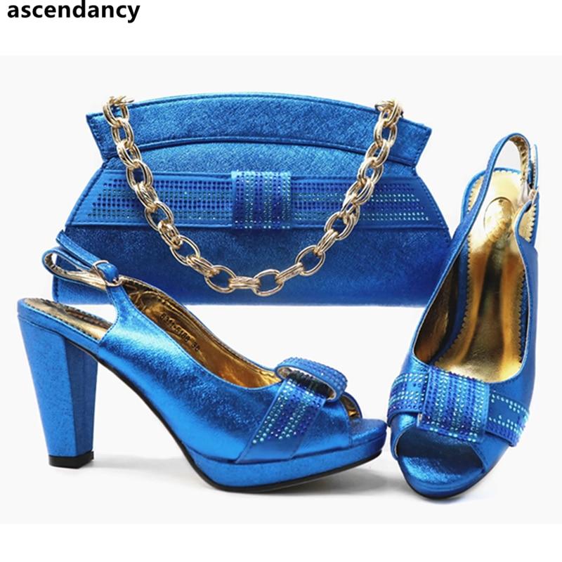 Strass Dernières pourpre Mariage Conception Africaines Les rouge Ensemble Et Italiennes Decoratd Femmes Sac Bleu Avec Sacs Partie De Assortis Chaussures 2019 qgPCq