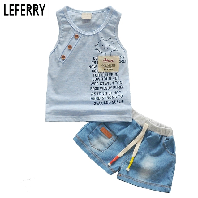 934ea08ae9561 Enfants vêtements bébé garçon été vêtements ensemble débardeur + Jeans  Shorts enfants bambin garçon vêtements ensemble
