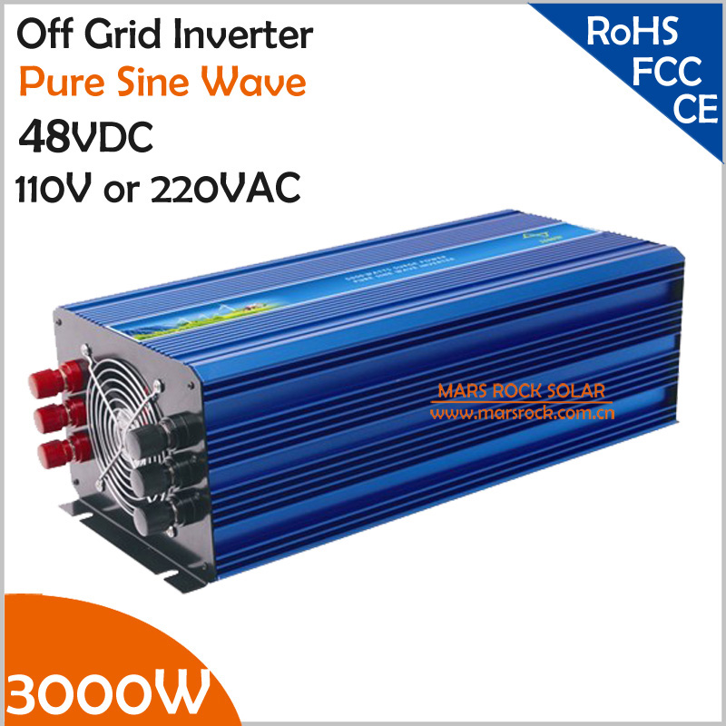 3000W Off Grid Pure Sine Wave Inverter, 48VDC Solar Inverter for 110VAC or 220VAC Home Appliances, Surge Power 6000W PV Inverter 1000w 12vdc to 220vac off grid pure sine wave inverter for home appliances