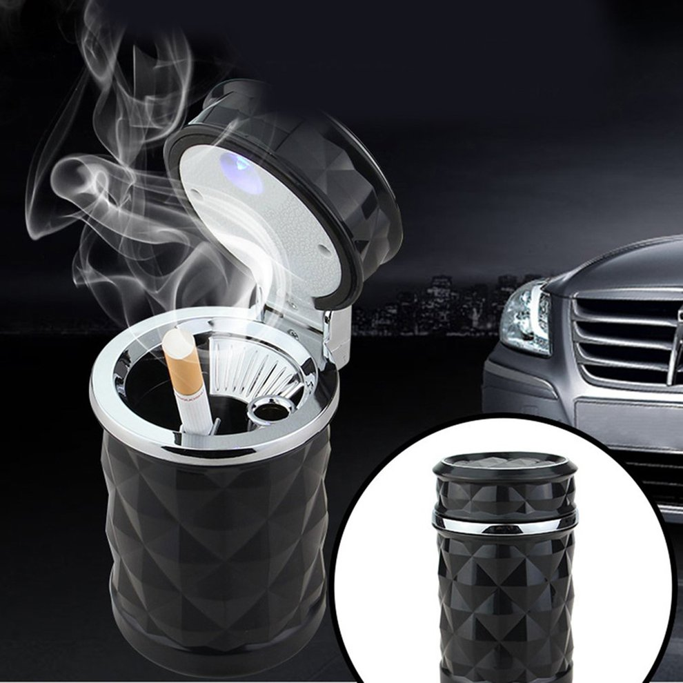Black White Car Ashtray Safe Flame Retardant Ashtray Diamond Cut LED Light Indicator Universal Cigarette Ash Holder