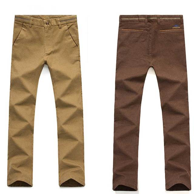 High Quality Exquisite Mens Casual Pants Slim Fit Khaki Straight-Fit Long Trousers for Men Solid Brown Black Navy Blue 5 Colors