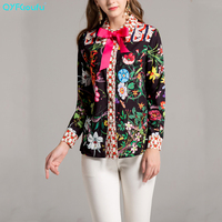 QYFCIOUFU Summer High Quality Plus Size Blouse Women S Long Sleeve Bow Collar Charming Floral Print