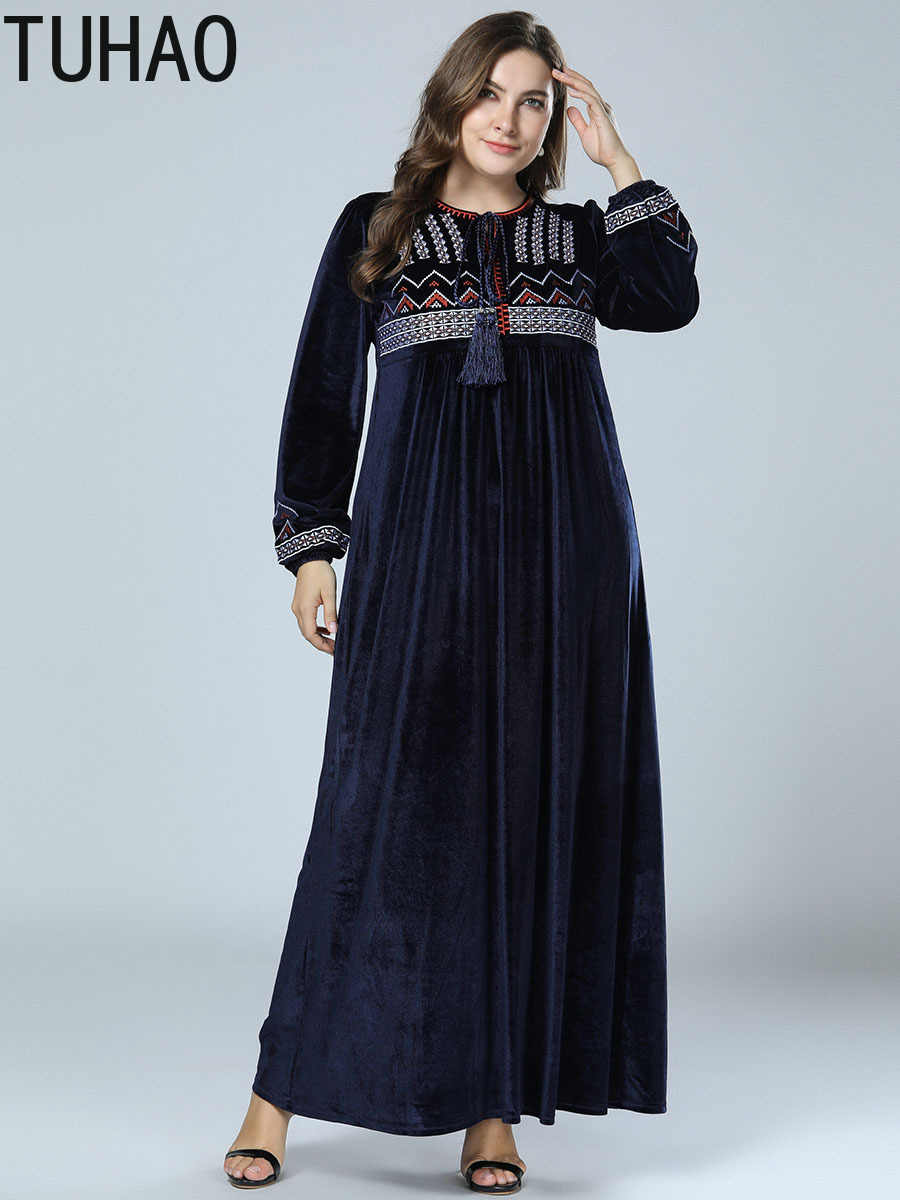 64813cf684 TUHAO PLUS SIZE 4XL 3XL Women's Maxi Dress Embroidery Velvet Winter Abaya  Warm Robe Loose Muslim Middle East Arab Dresses ZZL