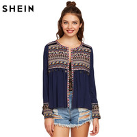 SheIn Women Long Sleeve Blouse Ladies Blouses 2017 Navy Embroidered Yoke And Cuff Coin Fringe Trim