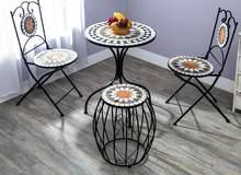 Oushi – table et chaise en fer forgé, mosaïque d'extérieur, pour cour Chaises et tables de table à thé