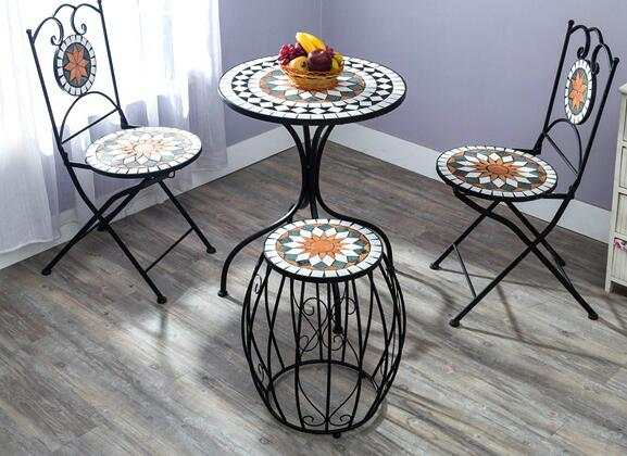Ou Shi Wrought Iron Courtyard Outdoor Mosaic Table And Chair