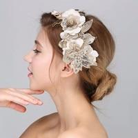 LIN ESTUDIO Barroco de La Vendimia Accesorios Para el Cabello Diademas de Perlas de Cristal de Novia Cabeza de La Flor Blanca Pieza Boda Tiara G401