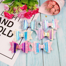 Oaoleer Hair Accessories 3 Inch Jelly Bows for Girls Glitter Rainbow Waterproof Handmade Kids Pool Summer Swim Hairbow