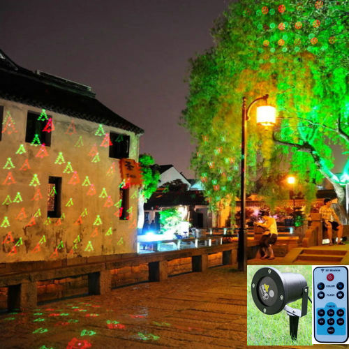 ФОТО Outdoor Waterproof 12 Xmas Gobos RG Laser Projector Red Green Moving Lights with Remote Controller