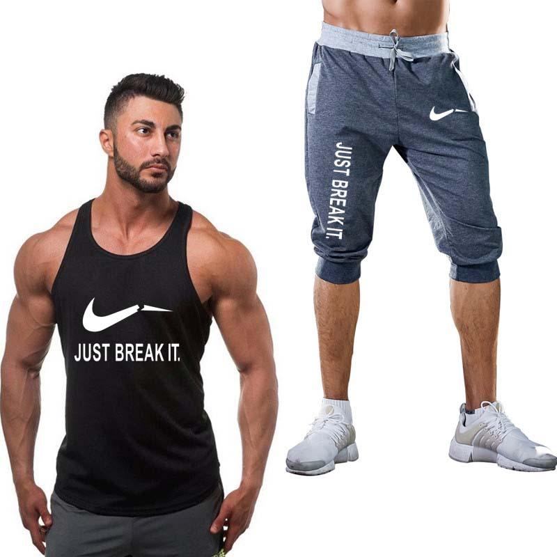 2019 New Summer Explosion Muscle Fitness Vest Suit Men Bodybuilding Quality Large Men's Vest Sleeveless Shirt Vest Gym Shirt Men