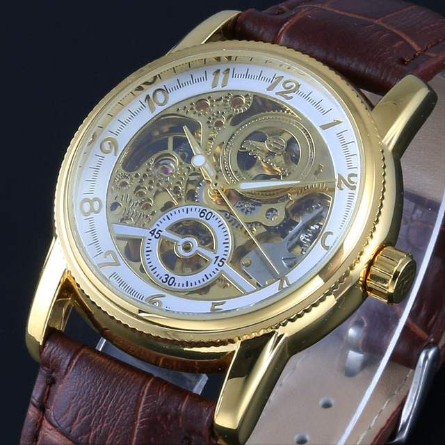 WINNER Men Fashion Skeleton Watch Mens Calssic Automatic Mechanical Wristwatch Luxury Gold Hollow Out stainless steel Male ClockWINNER Men Fashion Skeleton Watch Mens Calssic Automatic Mechanical Wristwatch Luxury Gold Hollow Out stainless steel Male Clock