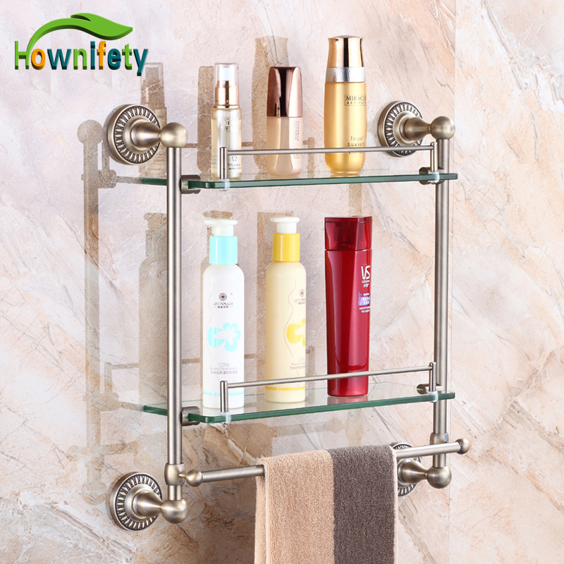 Luxury Bathroom Glass Shelf with Towel Bar Bathroom Accessories Storage Holder Antique Bronze auswind 2 layer silver corner basket bathroom products luxury cosmetic storage bathroom shelf holder bathroom accessorie pf10
