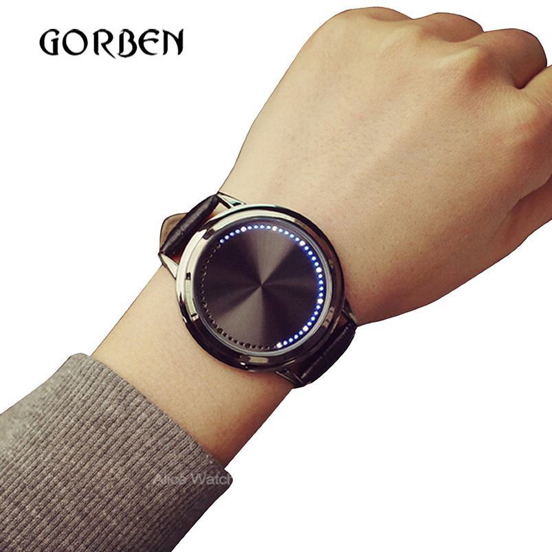 2017 Fashion Casual Mens Watches Leather Touch screen LED Women s Sports watches Mens Bracelet watches