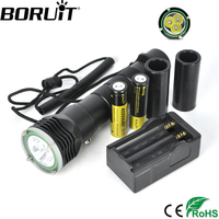 Boruit 3 XML L2 LED Diving Flashlight Underwater Waterproof Flash Light Torch Lantern With Stepless Dimming