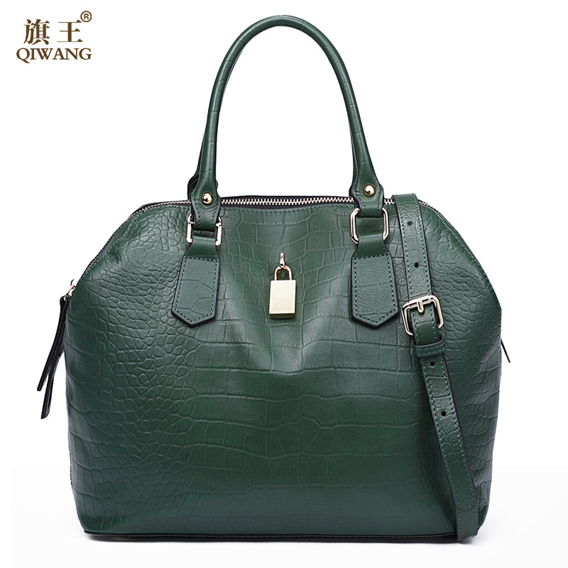 QIWANG Luxury Handbag Women Bag Designer Genuine Leather Bag Women Leather Handbags Lock Green Crossbody Messenger Bag