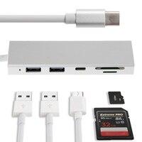 5in1 SD USB Adapter Type C Naar USB 3.0 Hub Combo SD/TF Kaartlezer Voor MacBook Pro Chromebook HP