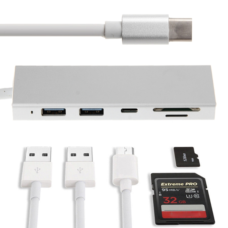 5in1 SD USB Adapter Type C To USB 3.0 Hub Combo SD/TF Card Reader For MacBook Pro Chromebook HP