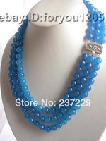 Wholesale price FREE SHIPPING AD19 22 3rows Natural 10mm Round Blue Jade Necklace