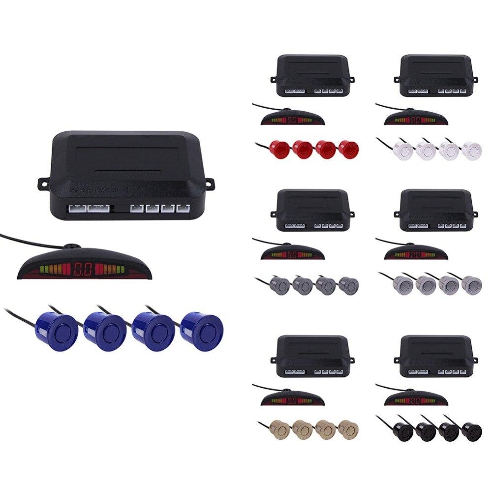 imágenes para 7 colores LED Car Parking Sensor Kit Car Auto LED Display 4 Sistema de Sensores para todos los coches Asistencia Inversa Monitor de Reserva Del Radar