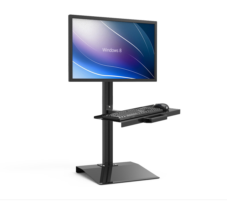 Customized Full Motion PS Stand Sit-Stand Workstation Desk Stand Monitor Keyboard Holder ...