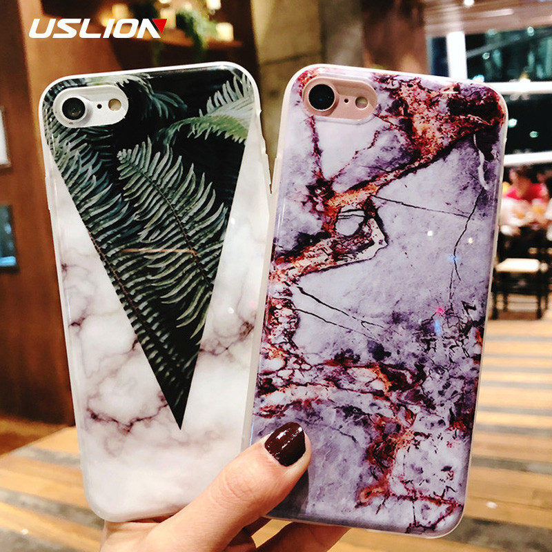 USLION Marble Phone Case For iPhone 7 8 Plus Stone Leaves Pattern Cases For iPhone X 8 7 6 6S Plus 5 5S SE Soft TPU Back Cover