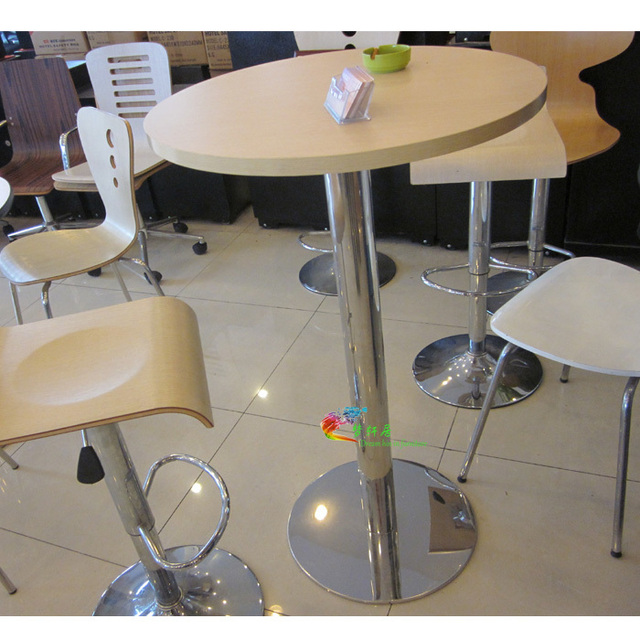 Simple Bar Tables Plywood Roundtable 1 Meter A Tall Table Sets Ing Plated Stainless Steel