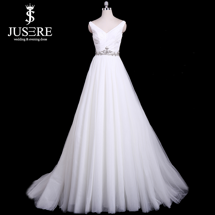 Jusere In Stock Cheap A Line Tulle Bridal Dresses Crystals Waist & Back Wedding Dresses Fast Shipping