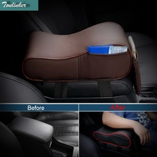 Tonlinker 1 PCS DIY Car Styling PU Leather Multi functional memory cotton cover case for central box pad armrest box height pad
