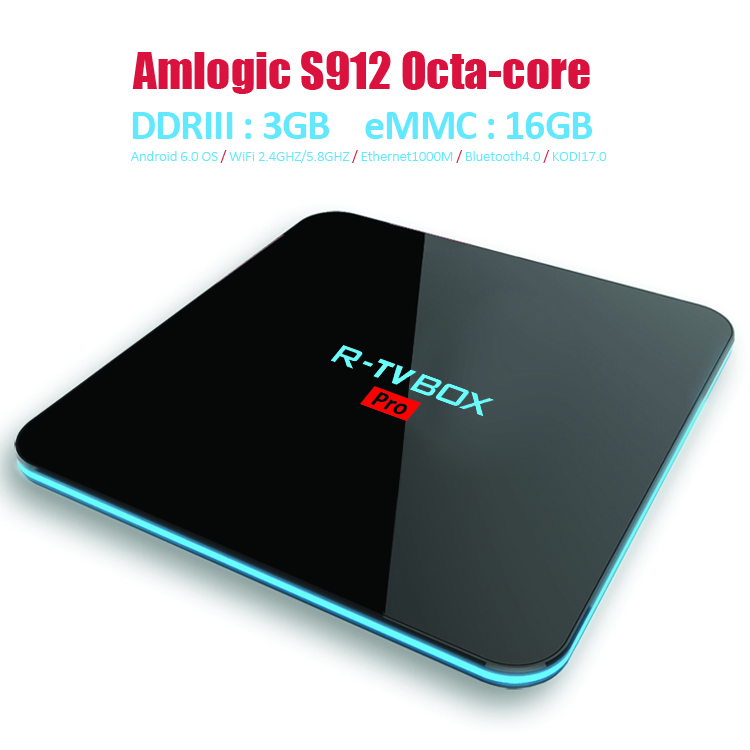 ФОТО R-TV BOX PRO Amlogic S912 Octa Core 3G/16G 2G/16G Android 6.0 4K TV BOX 2.4G+5G WIFI Bluetooth 4.0 Media Player Set top box