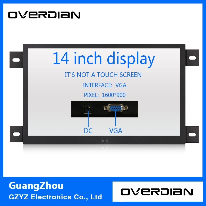14 VGA Interface Industrial Control Lcd Non-Touch Monitor Metal Shell Black Embedded Frame1600*900 11 6 inch metal shell lcd monitor open frame industrial monitor 1366 768 lcd monitor mount with av bnc vga hdmi usb interface