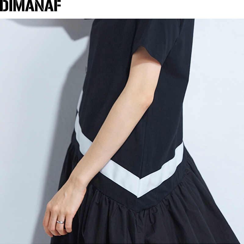 Женский сарафан трапециевидной формы DIMANAF, свободное платье черного цвета с оборками и соединением, летняя одежда большого размера, 2018