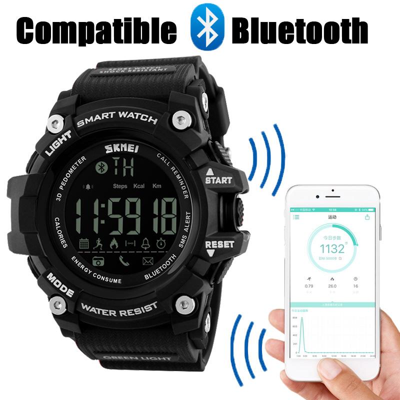 Prix pour Nouveau SKMEI Marque Hommes de Smart Sport Montre Bluetooth Calories Podomètre De Mode Montres Hommes 50 M Étanche Numérique Horloge Montre-Bracelet