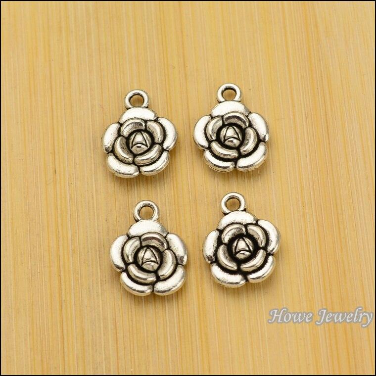 100pcs Charm  flowers Pendant Tibetan silver Zinc Alloy Fit  European  Necklace DIY Metal Jewelry Findings