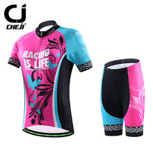 Women's CHEJI Cycling Jersey Kits Bicycle Jersey Top & Bike Bicycle Shorts With GEL Pad S-XXL Pink Ladies' Bike Clothes