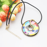 Colorful Rainbow Luxury Enamel Jewelry Pendant Necklace, 1 pc/pack