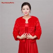 Сезон красный искусственный мех свадебные куртки-Болеро свадебное пальто накидка шали шарфы