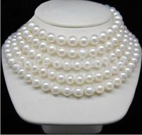 free shupping very good LONG 100 9 10MM AKOYA AAA + WHITE PEARL NECKLACE Silver hook Wholesale Jewelry necklaces ()