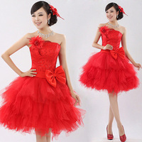 2017 new arrival fashion lady ball gown prom dress short with bow sequined red puff sleeveless.jpg 200x200