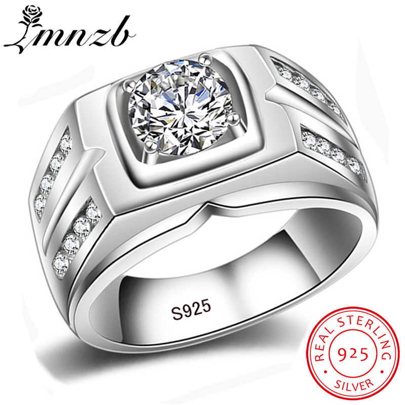 LMNZB Men Big Ring Fashion Real 925 Sterling Silver Jewelry 8mm Cubic Zircon Engagement Wedding Rings for Men Gift LRMJZ004